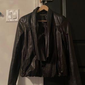 DIANE VON FURSTENBERG Leather Jacket Black